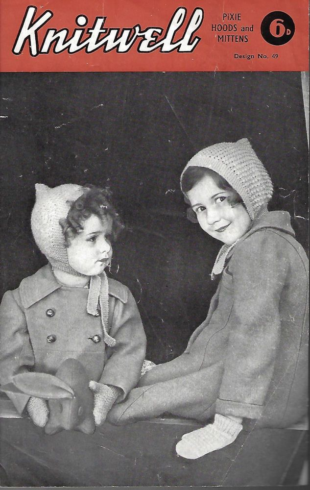 Child's Pixie Hood & Mittens Knitwell # 49 vintage knitting pattern 4 ply winter #Knitwell
