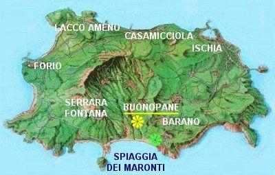 take the ferry from Napoli to Bar Ristorante La Cantina, Nitrodi, Barano d'Ischia - Dove siamo Fiore giallo = posizione del ristorante La Cantina a Nitrodi Fiore verde = posizione degli appartamenti Casa Raffaela sulla spiaggia dei Maronti