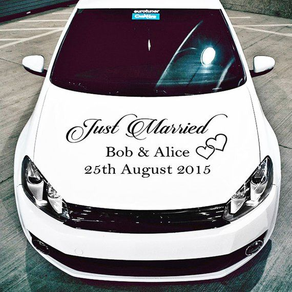 Just Married Personalised Sticker custom wedding car window sticker decal