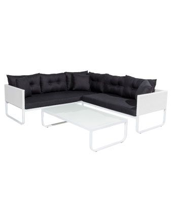 Vue Laguna 3-piece Lounge in White Weave & Aluminium with Charcoal