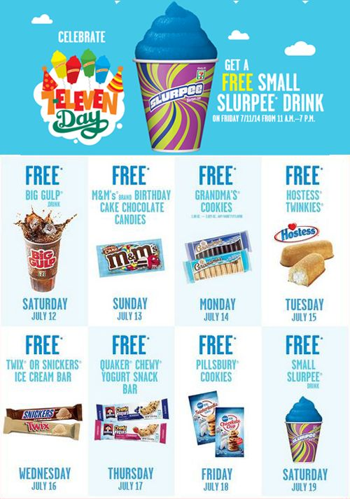 Okay party people of Pinterest - You can get free stuff at 7/11 starting  (july 11) till the 19th. Everyday features a new free item. All you need to do is download the 7/11 app and show the coupon code to the cashier (you don't need the app for free slurpee day). App here http://developer.7-eleven.com/app/