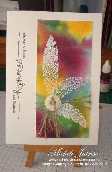 Stampin' Up! ... handmade card featuring emboss/resist technique ... feathers embossed in white ... sponged bright colors make fine details stand out ... triple twine wrap cinched by a button at the feathers base ... great card with an artistic look ...