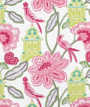 This beautiful chinoiserie is in shades of chartreuse, magenta, grey, and aqua on an ivory background. Its such a pretty and versatile print.