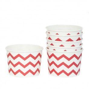 Red Chevron Paper Ice Cream Tubs