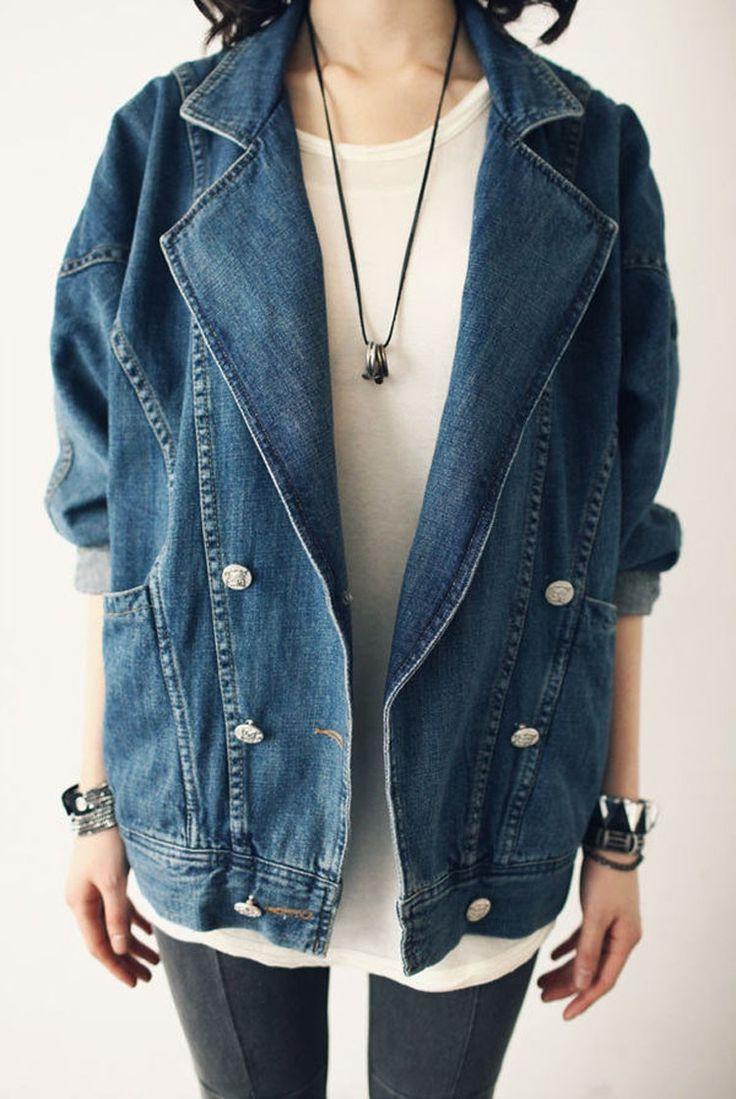 2015 herbst Flut Wiederherstellung alten Weisen fledermaus Ärmel anzug locker große Meter langarm jeansjacke casaco versandkostenfrei, ll0148(China (Mainland))