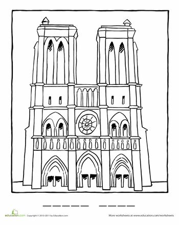 france coloring pages for girls | Notre Dame Coloring Page | France | Artists for kids ...
