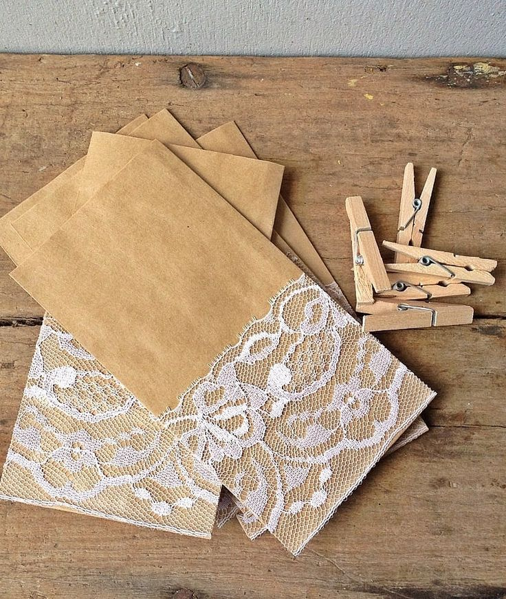 Brown paper gift bags with vintage lace