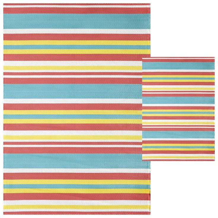 Plastic Outdoor Rug Mat: Multi Stripe Outdoor Woven Area Rug 5X7