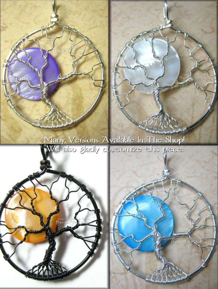 Tree of Life Pendant in Sterling Silver Wire with Purple Pearl Shell Full Moon Night Magic Royalty ~ very cool