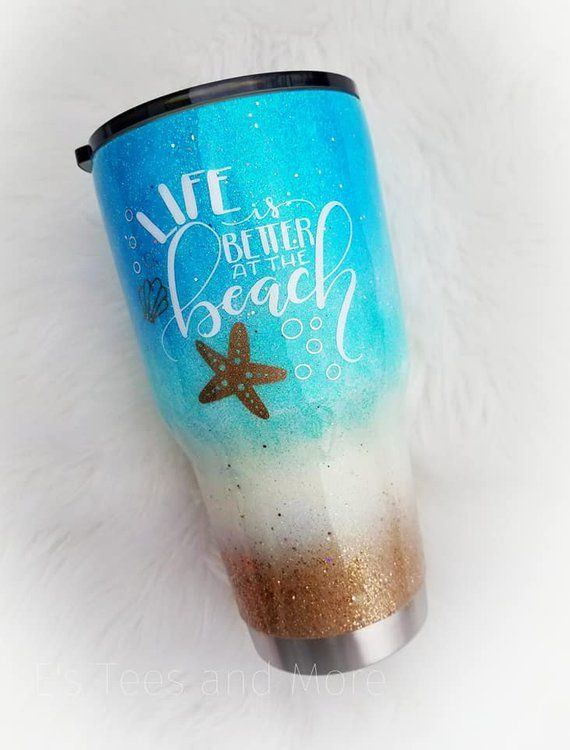 Beach Glitter Tumbler  Starfish Ocean Sea  Teal Aqua