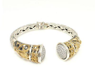 925 Ayar Gümüş Taşlı Antik Bizans Bilezik