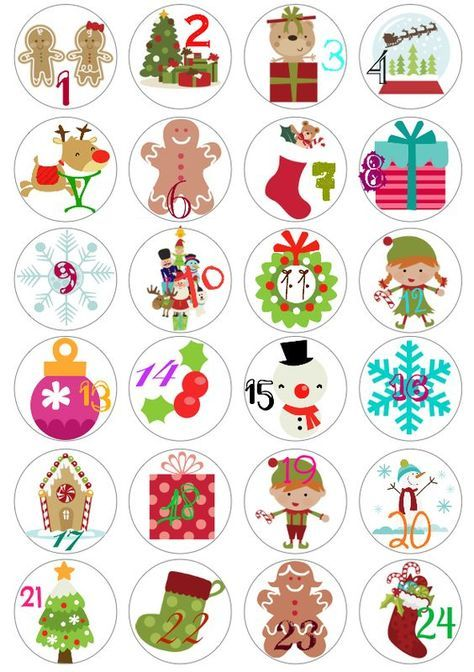 Christmas Advent Calendario freebie printable / etiquetas para Calendario de adviento imprimibles: