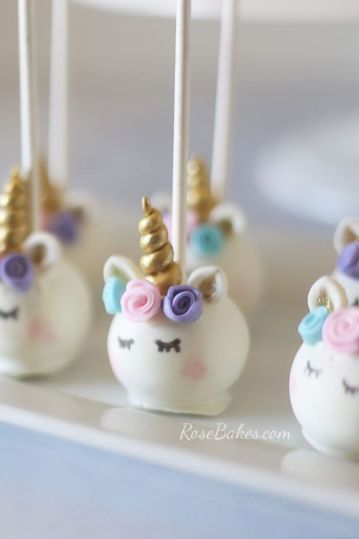 Pastel Watercolors Unicorn Cake and Unicorn Cake Pops - Rose Bakes