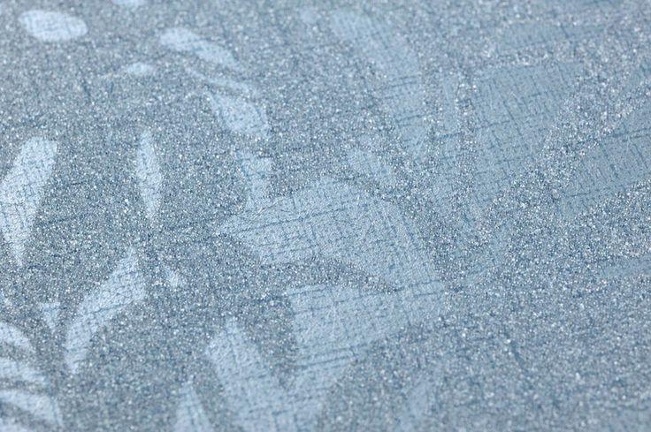 €150,90 Prezzo per rotolo (per m2 €21,87), Carta da parati glamour, Tessuto base: Carta da parati TNT, Superficie: Rilievi percepibili al tatto, Perline di vetro, Effetto: Brillante, Design: Fronde di palma, Colore di base: Blu chiaro, Colore del disegno: Blu pastello scintillante, Caratteristiche: Buona resistenza alla luce, Bassa infiammabilità, Rimovibile, Stendere colla sul muro, Spugnabile