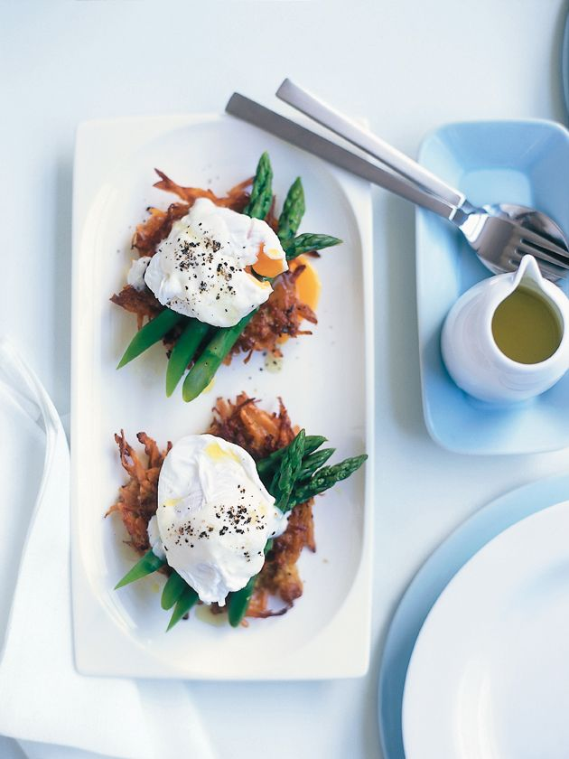 soft-poached eggs with sweet potato hash browns. A solution to eggs on toast... without the toast! Love it.
