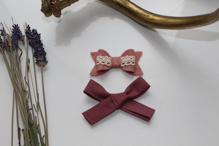 St-Valentin, Set de 2, Bandeau, barrette, pince à cheveux, boucle, noeud, bébé fille, shower bébé,vintage, boho de la boutique FloraetJane sur Etsy