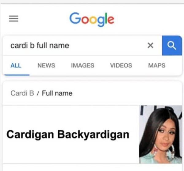 Cardi B Real Name Google Searches Stupid Memes Celebrity Memes Haha Funny
