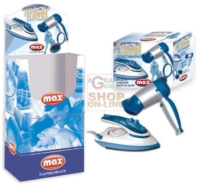 MAX SET TRAVEL:ASCIUGACAPELLI+STIRO PALLBOX https://www.chiaradecaria.it/it/max/12172-max-set-travelasciugacapelli-stiro-pallbox-8017365015688.html