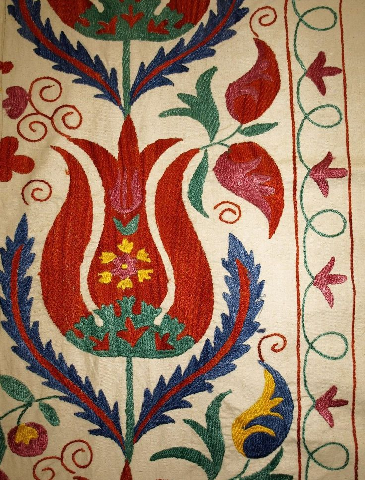 Stunning UZBEK Ottoman Silk Handmade Embroidery Suzani Bold Tulips V3009 | eBay