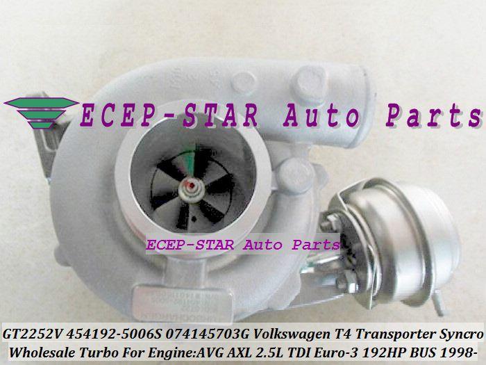 GT2252V 454192 454192-5006S 074145703G Turbo Turbocharger For Volkswagen VW T4 Bus Transporter Syncro 1995-03 AVG AXL 2.5L TDI