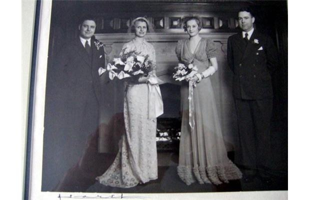 The people are, left to right, William James (Jack) McFarlane, the groom, Alice Hughes McFarlane, the bride, Campbeline Moody, Maid of Honour and Merill Tucker, Best Man.