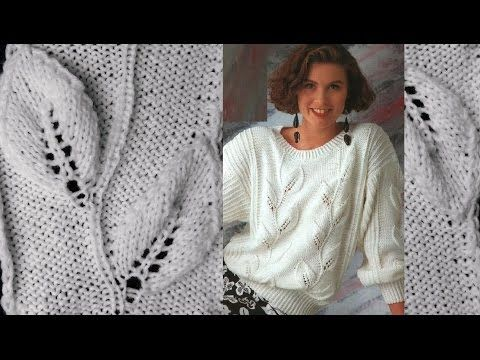 Модный узор: крупные листики спицами. #УзорСпицами - YouTube