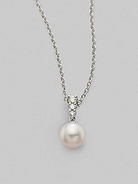 1ee6130c5 Mikimoto Morning Dew 8MM Akoya Cultured Pearl & Diamond Pendant Necklace -  Pearl: Amazon.ca: Jewelry