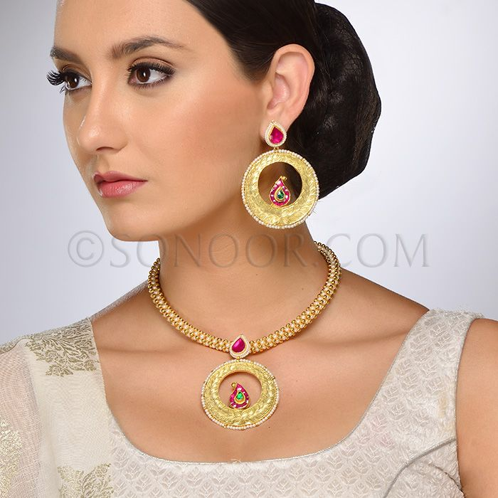 PEN/1/3704 Dhriti Pendant Set with Earrings in dull gold finish studded with pearls and jade stones
