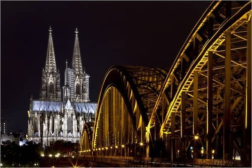 """Leinwandbild 30 x 20 cm - """"Hohenzollernbrücke"""" von Gregor Luschnat - auch in anderen Größen und als Poster erhältlich von POSTERLOUNGE, http://www.amazon.de/dp/B00AB3PQA0/ref=cm_sw_r_pi_dp_bDjmrb1C3QGGV"""