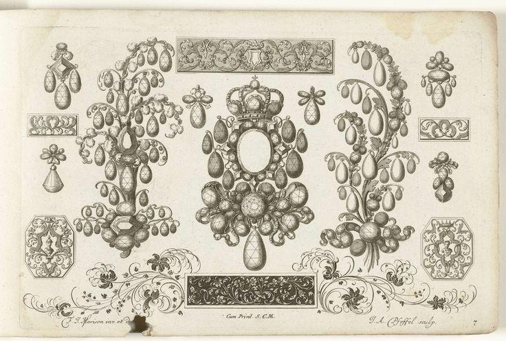 Vijftien ontwerpen voor juwelen, Christian Engelbrecht, Johann Andreas Pfeffel (der �ltere), Jeremias Wolf, na 1699 - voor 1724