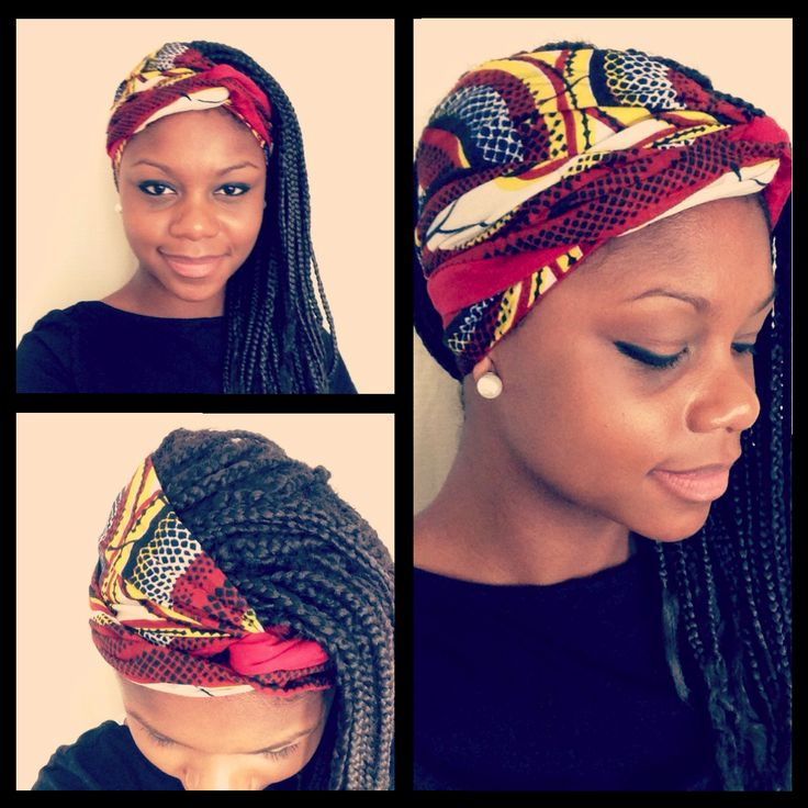 Coiffure foulard + box braids Lovely Box Braid