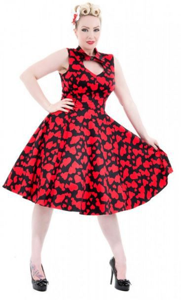Long dress red hearts