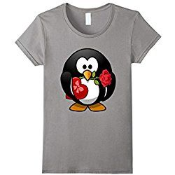 Women's Valentine's Day Penguin T Shirt, Love Relationships Couples Large Slate