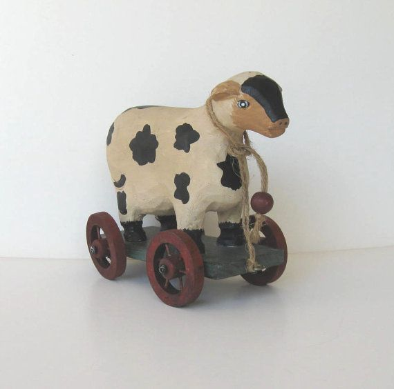 Vintage Wooden Cow Pull Toy Primitive Folk Art Home
