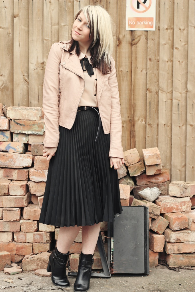 black midi, nude top, nude leather jacket- what I wore yesterday