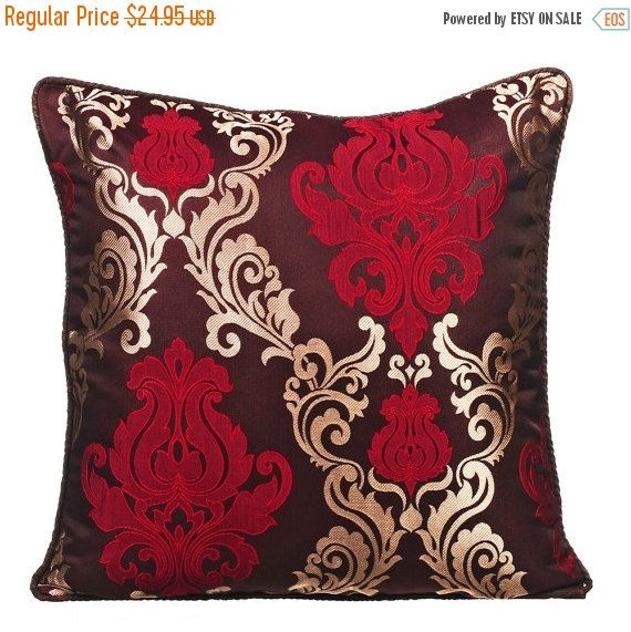 15% YEAR END SALE Glory Gold - Brown jacquard Throw Pillow Cover with a Red & Gold Pattern. Buy Now!