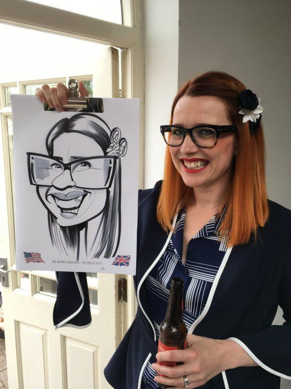 Wedding caricatures from Shearsby Bath, Leicestershire
