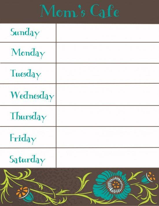 1000 ideas about Meal Planning Templates – Menu Calendar Template