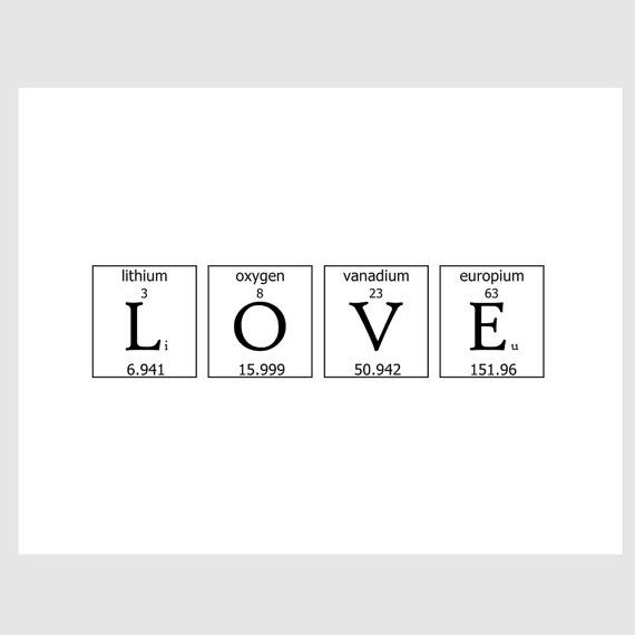 74 best chemistry images on pinterest science periodic table and geeky romance periodic table love quote paper print in by ecoprint urtaz Choice Image