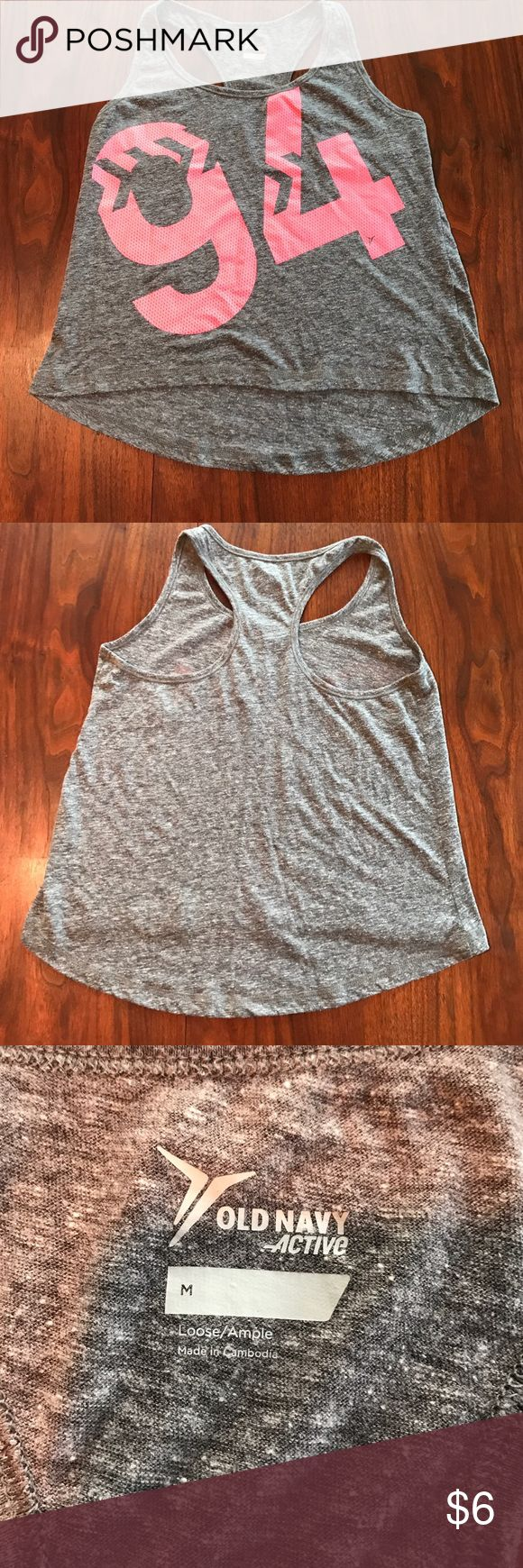 "❤Old Navy tank top❤ Gray and pink Old Navy workout tank top. In great condition, no creasing on the ""94"" pink application. Rides a little longer in back. This item is included in the 3 for $10 sale! All items with a ❤ in title are 3 for $10. Add 3 ❤items to bundle, offer $10 and I'll accept! Old Navy Tops Tank Tops"