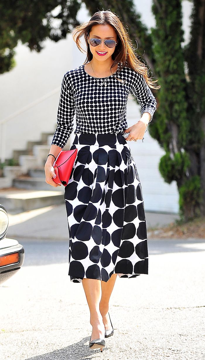 Mixing patterns the right way with Jamie Chung.
