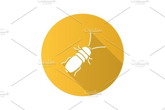 Stink beetle flat design long shadow glyph icon. Animal