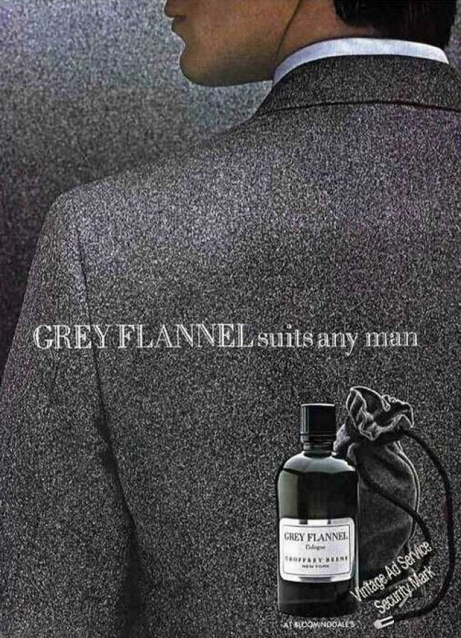"""Geoffrey Beene's Grey Flannel Cologne<3 (1980). Pure elegance. Pure art. Grey Flannel """"Suits Any Man"""" Cologne Ad (1982)"""
