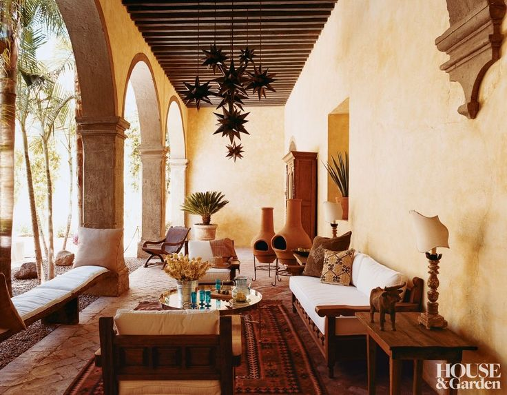 On The Outdoor Patio Of Designer Anne Marie Midyu0027s Mexican Hacienda,  Traditional Hacienda Furniture Is Lightened With Cream Cushions.