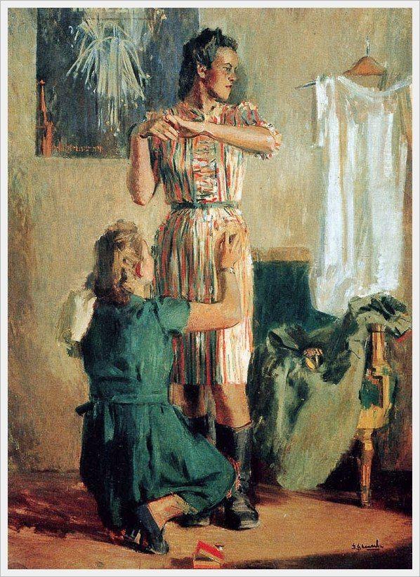 Васильев Владимир Александрович (Россия, 1895-1967) «Демобилизованная» 1947