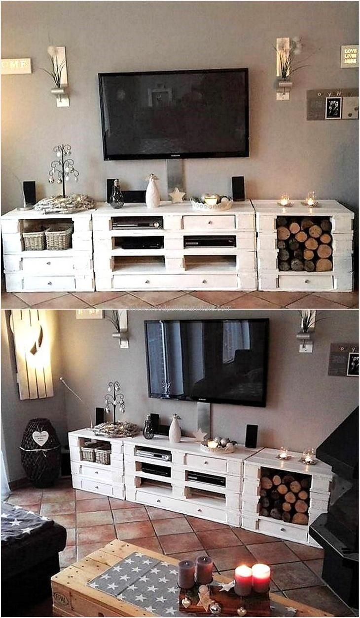 As you can see that the reclaimed wooden pallet media cabinet is offering many storage options, it is the best to create and place in the TV launch because the DVD player, speakers and the decorative items are required to be placed there for which the space on and inside the table is enough.