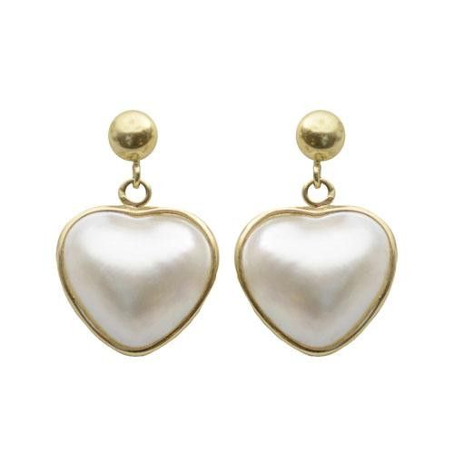 Imperial Pearl 20mm Heart Shaped Mabe Earrings In 14k Gold Pearlscom