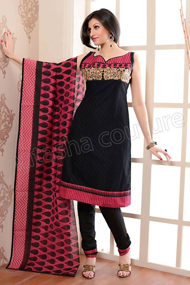 Black and Pink Cotton Printed #Salwar Kameez