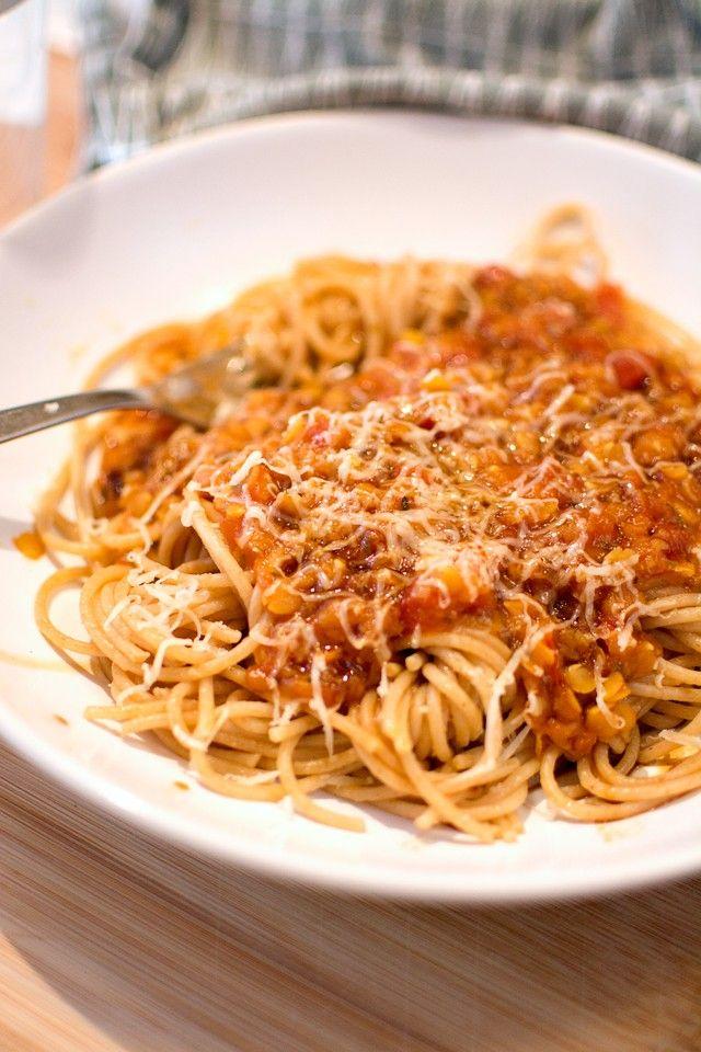 Vegetarisk köttfärssås (linssås till pasta)