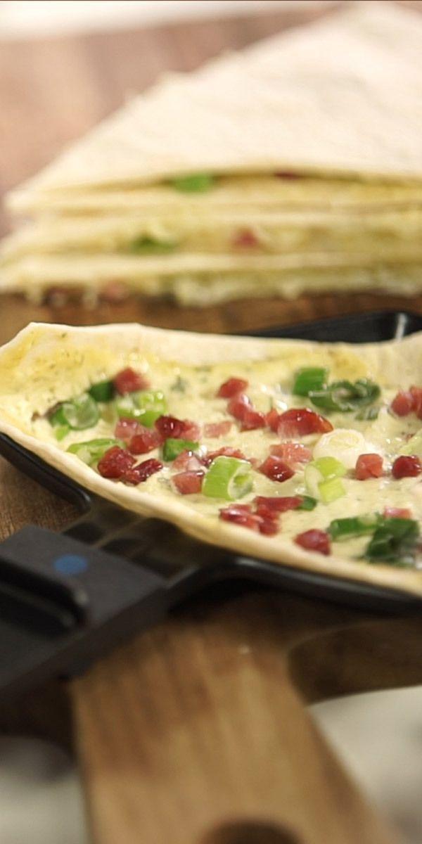 Flammkuchen in Raclette zubereitet: Das außergewöhnliche Rezept schmeckt ungewaschen – Party Ideas   – Pin Through
